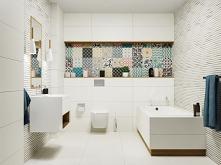 Biała łazienka z kolorowym patchworkiem w kolekcjach marki Tubądzin