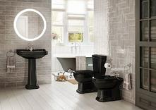 Czarna ceramika w łazience o szarych barwach.