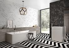 Biel i czerń w łazience w stylu glamour w kolekcji Azario Chevron.