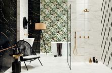Łazienka w stylu glamour ze złotymi dodatkami, ciemnym marmurem i elementem zielonej roślinności w kolekcji Domino - Floris