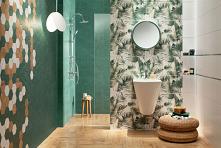 Nowoczesna łazienka w kolorach pięknej zieleni i bieli z akcentem kwiatowym w kolekcji Domino Burano Green.