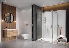 Nowoczesna łazienka w odcieniach bieli i szarości.