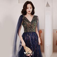 Błyszczące Granatowe Sukien...