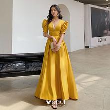 Vintage Żółta Sukienki Na B...