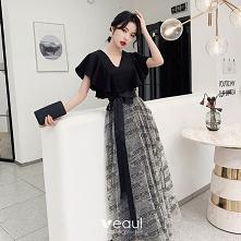 Moda Czarne Kokarda Sukienk...