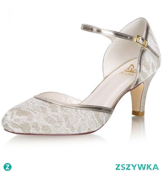 Moda Szampan Z Koronki Buty Ślubne 2021 Satyna 6 cm Szpilki Okrągłe Toe Ślub Wysokie Obcasy