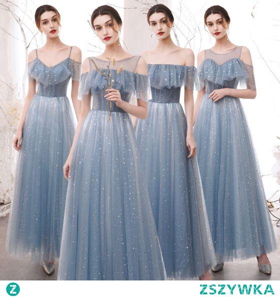 Stylowe / Modne Błękitne Gwiazda Cekiny Sukienki Dla Druhen 2021 Princessa Przy Ramieniu Kótkie Rękawy Bez Pleców Długie Sukienki Na Wesele