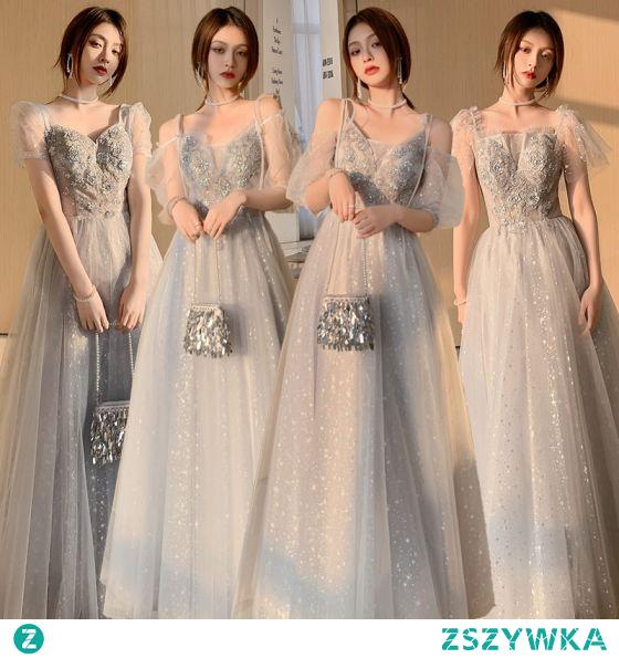 Moda Szary Sukienki Dla Druhen 2021 Princessa Kwadratowy Dekolt Frezowanie Cekiny Z Koronki Kwiat Kótkie Rękawy Bez Pleców Długie Sukienki Na Wesele