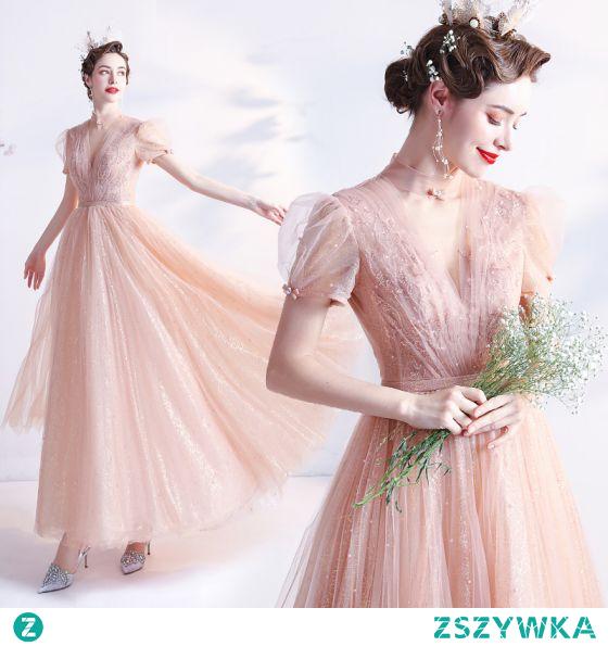 Moda Rumieniąc Różowy Homecoming Sukienki Na Studniówke 2021 Princessa Wysokiej Szyi Frezowanie Perła Cekiny Kótkie Rękawy Bez Pleców Długie Sukienki Wizytowe