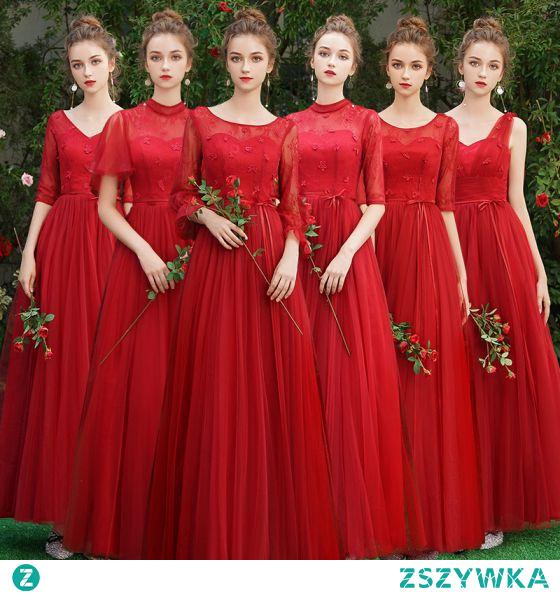 Proste / Simple Burgund Sukienki Dla Druhen 2021 Princessa Wycięciem Kótkie Rękawy Bez Pleców Długie Sukienki Na Wesele