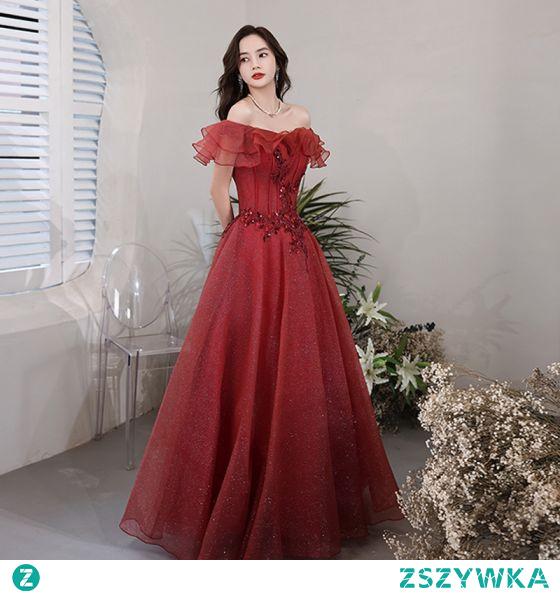 Piękne Burgund Cekinami Sukienki Wieczorowe Sukienki Na Bal 2021 Princessa Przy Ramieniu Frezowanie Cekiny Kótkie Rękawy Bez Pleców Długie Wieczorowe Bal Sukienki Wizytowe