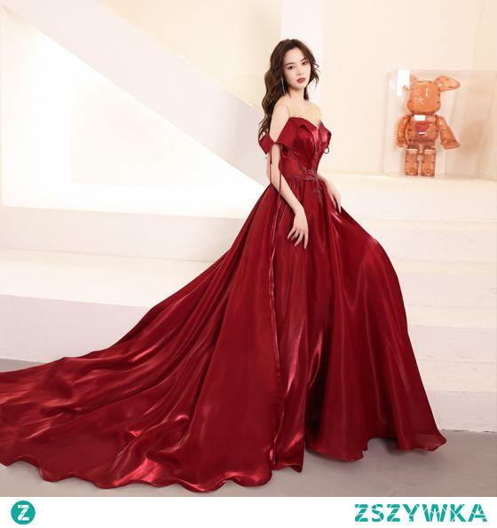 Uroczy Burgund Frezowanie Kryształ Sukienki Wieczorowe 2021 Princessa Wycięciem Kótkie Rękawy Bez Pleców Trenem Kaplica Wieczorowe Sukienki Wizytowe