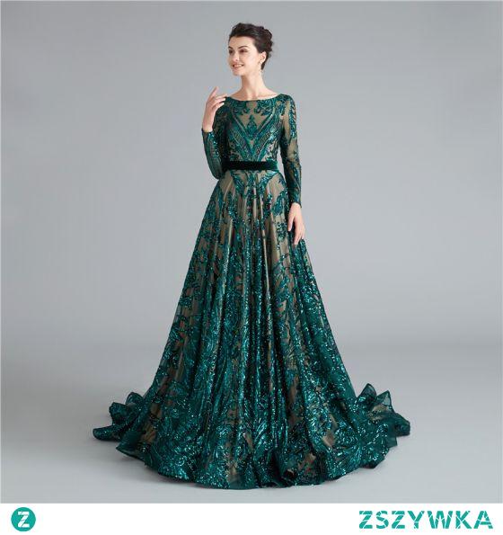 Błyszczące Ciemnozielony Cekiny Sukienki Wieczorowe Sukienki Na Bal 2021 Princessa Szarfa Wycięciem Długie Rękawy Bez Pleców Długie Wieczorowe Bal Sukienki Wizytowe