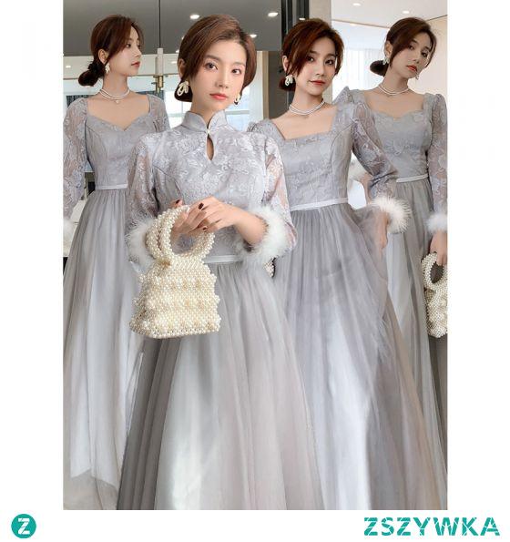 Proste / Simple Szary Sukienki Dla Druhen Skrzyżowane Pasy 2021 Princessa Kwadratowy Dekolt Z Koronki Kwiat Szarfa 3/4 Rękawy Bez Pleców Długie Na Wesele Sukienki Na Wesele