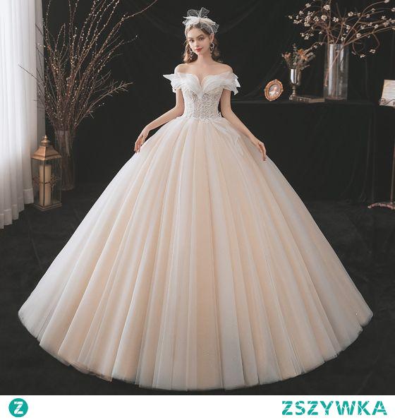 Uroczy Szampan Suknie Ślubne 2021 Suknia Balowa Przy Ramieniu Frezowanie Z Koronki Kwiat Bez Rękawów Bez Pleców Długie Ślub