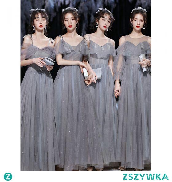 Proste / Simple Szary Sukienki Dla Druhen 2021 Princessa Cekinami Spaghetti Pasy Kótkie Rękawy Bez Pleców Długie Na Wesele Sukienki Na Wesele