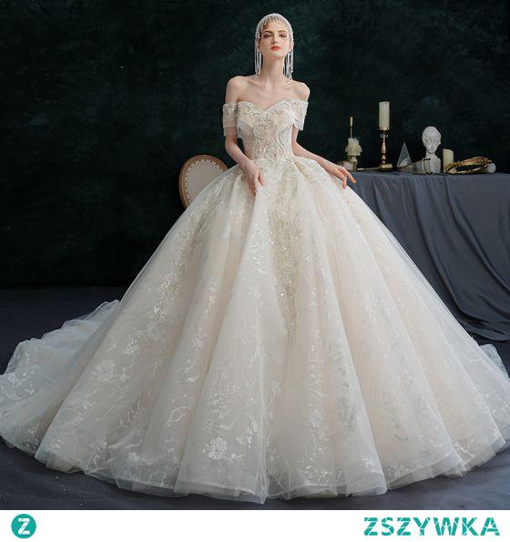 Iluzja Szampan Suknie Ślubne 2021 Suknia Balowa Przy Ramieniu Frezowanie Perła Rhinestone Cekiny Kótkie Rękawy Bez Pleców Trenem Królewski Ślub