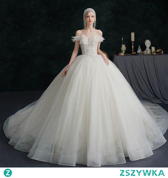 Proste / Simple Kość Słoniowa Suknie Ślubne 2021 Suknia Balowa Przy Ramieniu Frezowanie Kryształ Cekiny Bez Rękawów Bez Pleców Trenem Królewski Ślub