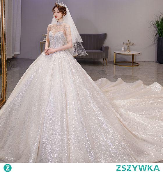 Luksusowe Błyszczące Szampan Frezowanie Suknie Ślubne 2021 Suknia Balowa Wysokiej Szyi Perła Rhinestone Cekiny 1/2 Rękawy Bez Pleców Trenem Królewski Ślub