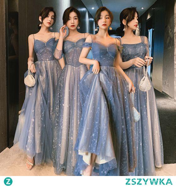 Uroczy Błękitne Gwiazda Sukienki Dla Druhen 2021 Princessa Spaghetti Pasy Z Koronki Bez Rękawów Bez Pleców Długie Na Wesele Sukienki Na Wesele