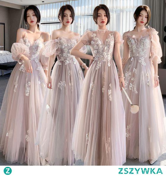 Moda Rumieniąc Różowy Z Koronki Kwiat Sukienki Dla Druhen 2021 Princessa Spaghetti Pasy Kótkie Rękawy Bez Pleców Długie Na Wesele Sukienki Na Wesele