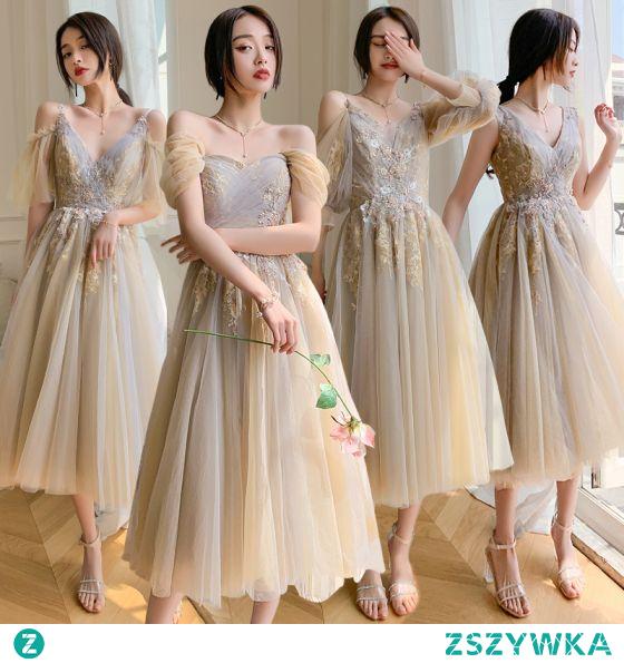 Piękne Szampan Sukienki Dla Druhen 2021 Princessa V-Szyja Frezowanie Perła Cekiny Z Koronki Kwiat Kótkie Rękawy Bez Pleców Długie Na Wesele Sukienki Na Wesele