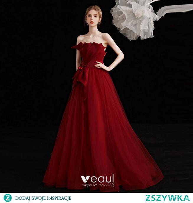 Uroczy Burgund Sukienki Na Bal Sukienki Wieczorowe 2021 Princessa Bez Ramiączek Kokarda Bez Rękawów Bez Pleców Długie Wieczorowe Sukienki Wizytowe