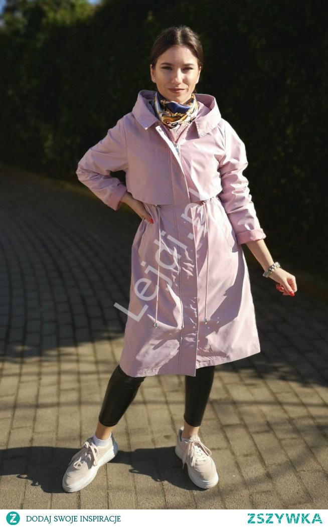 Jasno różowa parka damska na wiosnę i jesień. Płaszczyk różowy. Parka 2w1 na wiosnę jesień i zimę z ciepłą podpinką lejdi.pl