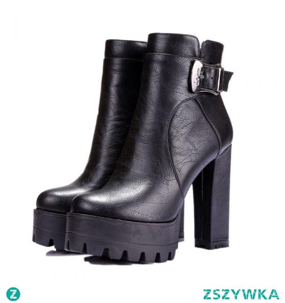 Moda Czarne Zużycie ulicy Botki Buty Damskie 2021 12 cm Grubym Obcasie Wodoodporne Okrągłe Toe Boots