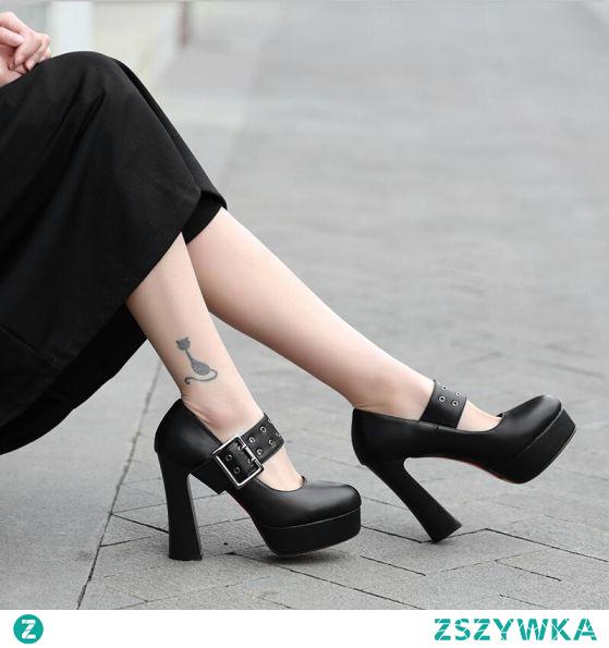 Moda Czarne Zużycie ulicy Klamra Czółenka 2021 11 cm Grubym Obcasie Wodoodporne Szpiczaste Czółenka