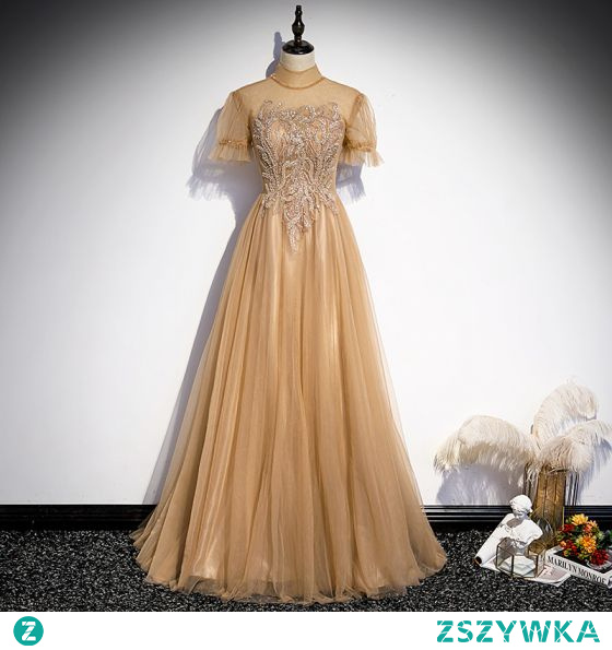 Eleganckie Szampan Sukienki Na Bal 2021 Princessa Wysokiej Szyi Frezowanie Z Koronki Cekiny Kótkie Rękawy Bez Pleców Długie Bal Sukienki Wizytowe