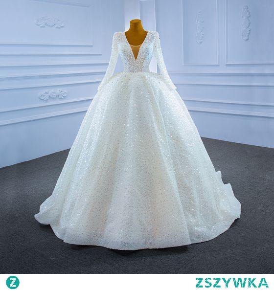 Wysokiej Klasy Błyszczące Kość Słoniowa Perła Suknie Ślubne 2021 Suknia Balowa Wykonany Ręcznie Frezowanie Rhinestone Cekiny V-Szyja Długie Rękawy Trenem Sąd Ślub