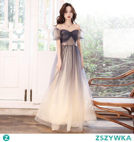 Eleganckie Granatowe Cekinami Sukienki Na Bal 2021 Princessa Kwadratowy Dekolt Frezowanie Kryształ Kótkie Rękawy Bez Pleców Długie Bal Sukienki Wizytowe
