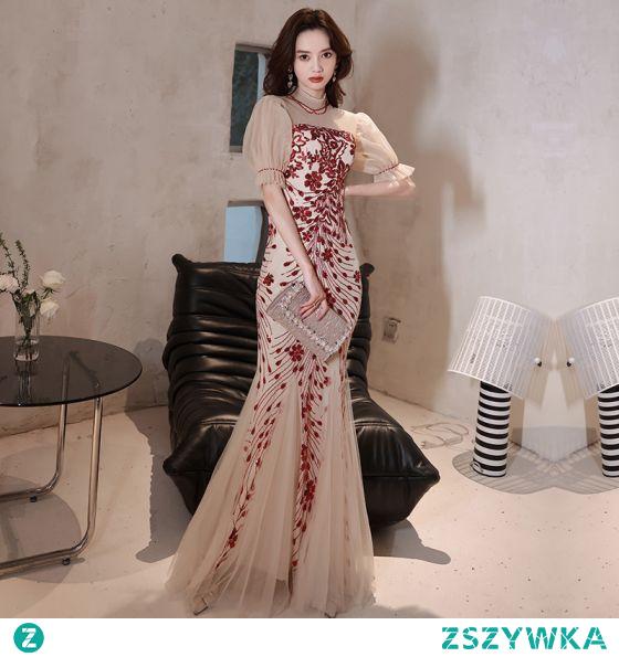 Uroczy Szampan Cekiny Sukienki Wieczorowe 2021 Syrena / Rozkloszowane Wysokiej Szyi Kótkie Rękawy Długie Wieczorowe Sukienki Wizytowe