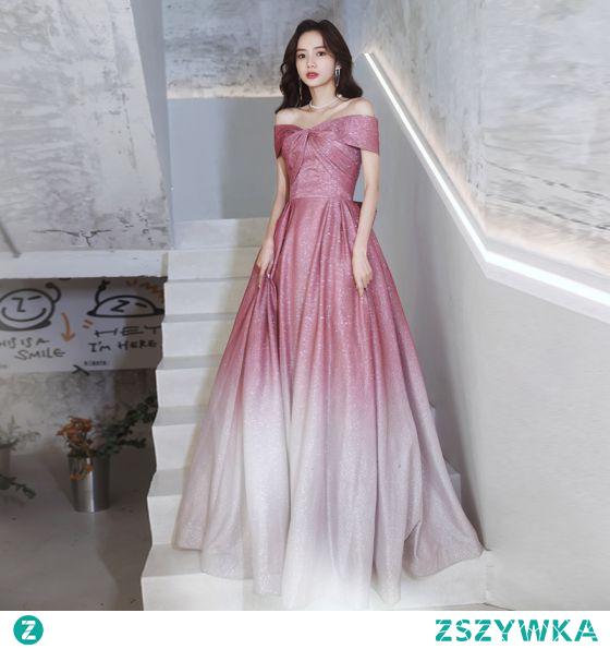 Moda Gradient-Kolorów Cukierki Różowy Cekiny Sukienki Na Bal 2021 Princessa Przy Ramieniu Kótkie Rękawy Bez Pleców Kokarda Długie Wieczorowe Sukienki Wizytowe