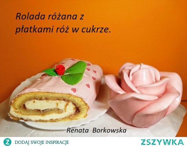 Rolada  różana  z  płatkami  róż  w  cukrze .