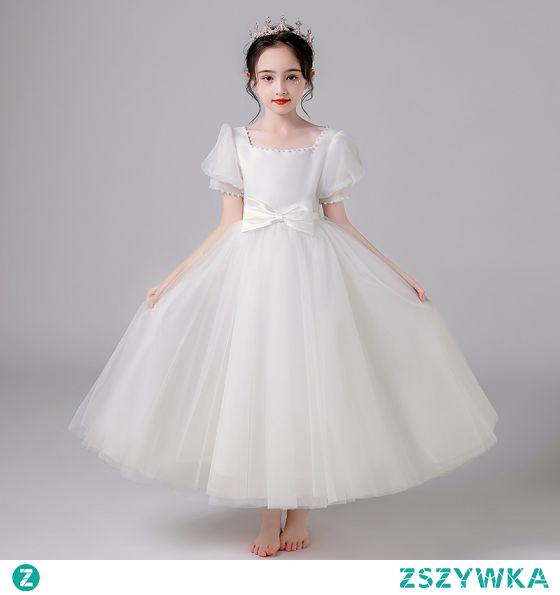 Piękne Kość Słoniowa Ślub Sukienki Dla Dziewczynek 2021 Princessa Kwadratowy Dekolt Perła Kokarda Kótkie Rękawy Długie Sukienki Na Wesele