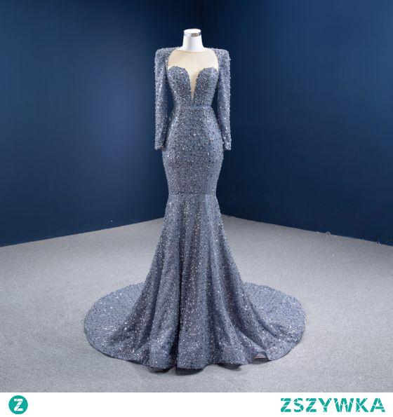 Wysokiej Klasy Szary Frezowanie Perła Rhinestone Sukienki Wieczorowe 2021 Syrena / Rozkloszowane Wycięciem Cekiny Długie Rękawy Trenem Sąd Wieczorowe Sukienki Wizytowe