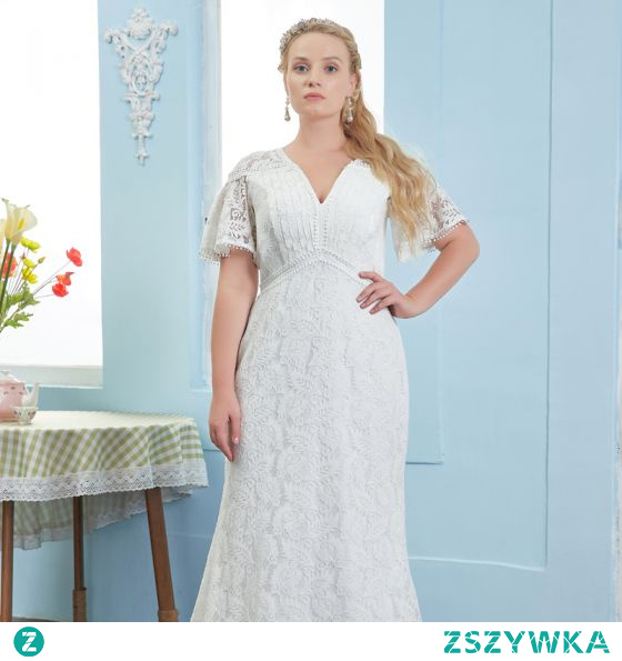 Proste / Simple Kość Słoniowa Rozmiarze Plus Suknie Ślubne 2021 Syrena / Rozkloszowane V-Szyja Z Koronki Kwiat Kótkie Rękawy Długie Ślub