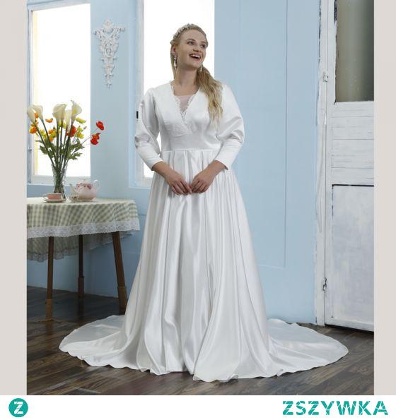 Proste / Simple Kość Słoniowa Satyna Rozmiarze Plus Suknie Ślubne 2021 Princessa Kwadratowy Dekolt 3/4 Rękawy Trenem Sąd Ślub
