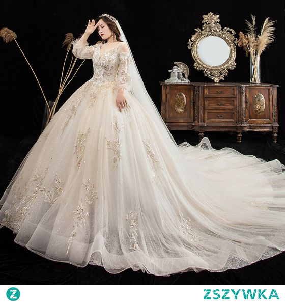 Luksusowe Szampan Duży Rozmiar Suknie Ślubne 2021 Suknia Balowa V-Szyja Frezowanie Cekiny Z Koronki Kwiat 3/4 Rękawy Bez Pleców Trenem Królewski Ślub