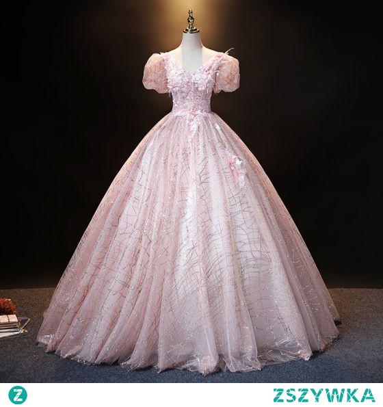 Vintage Rumieniąc Różowy Perła Cekiny Z Koronki Kwiat Sukienki Na Bal Suknia Balowa 2021 V-Szyja Bufiasta Kótkie Rękawy Bez Pleców Długie Bal Sukienki Wizytowe