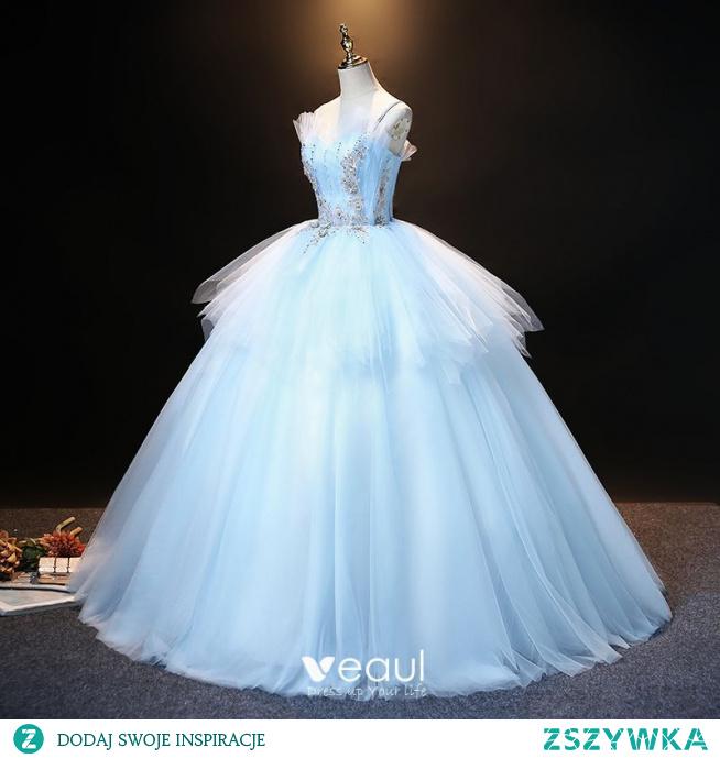 Eleganckie Błękitne Sukienki Na Bal 2021 Suknia Balowa Spaghetti Pasy Perła Rhinestone Z Koronki Kwiat Bez Rękawów Bez Pleców Długie Bal Sukienki Wizytowe