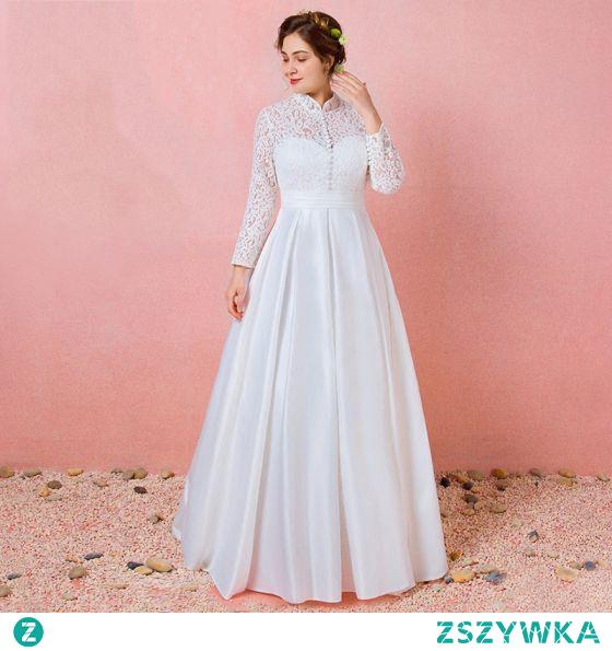 Proste / Simple Kość Słoniowa Z Koronki Kwiat Rozmiarze Plus Suknie Ślubne 2021 Princessa Wysokiej Szyi Długie Rękawy Bez Pleców Długie Ślub