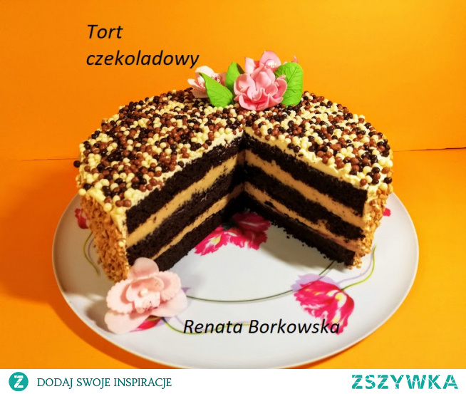 Tort czekoladowo-orzechowo-kajmakowy .