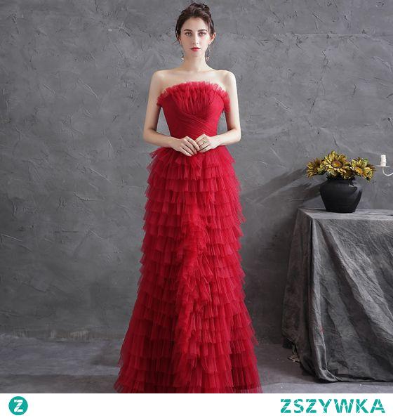 Seksowne Czerwone Plisowane Sukienki Wieczorowe 2021 Princessa Bez Ramiączek Bez Rękawów Bez Pleców Wieczorowe Długie Sukienki Wizytowe