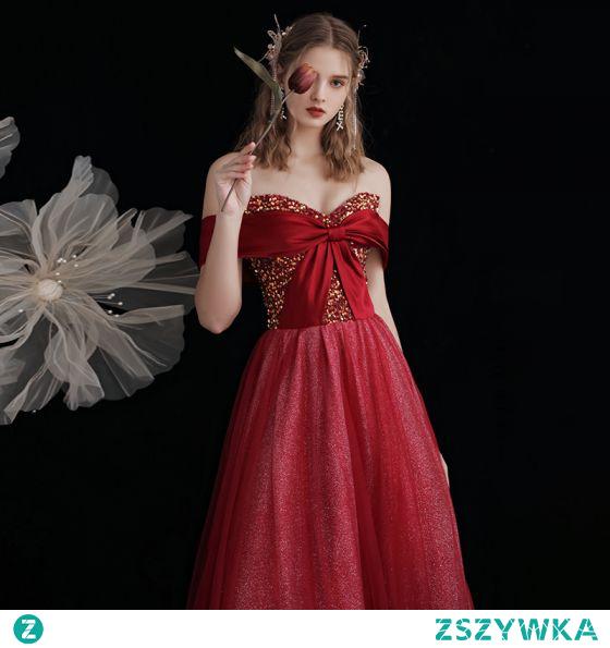Uroczy Błyszczące Czerwone Cekinami Sukienki Na Bal 2021 Princessa Przy Ramieniu Kokarda Cekiny Bez Rękawów Bez Pleców Długie Bal Sukienki Wizytowe