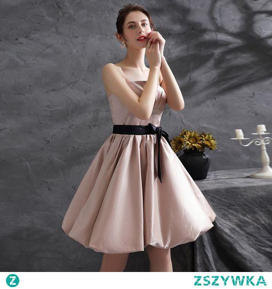 Moda Rumieniąc Różowy Sukienki Koktajlowe Strona Sukienka 2021 Princessa Bez Ramiączek Kokarda Bez Rękawów Bez Pleców Krótkie Koktajlowe Sukienki Wizytowe