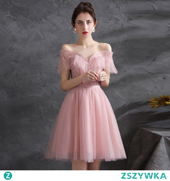 Piękne Rumieniąc Różowy Homecoming Sukienki Koktajlowe Sukienki Na Studniówke 2021 Princessa Przy Ramieniu Frezowanie Cekiny Szarfa Kótkie Rękawy Bez Pleców Długość do kolan Koktajlowe Sukienki Wizytowe