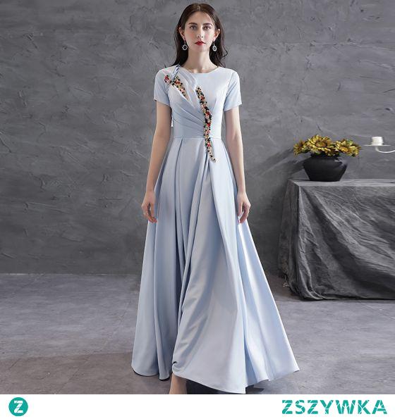 Skromna Szary Kryształ Rhinestone Satyna Sukienki Wieczorowe 2021 Princessa Wycięciem Kótkie Rękawy Długie Wieczorowe Sukienki Wizytowe